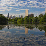 Pond And The Chicago Skyline Art Print