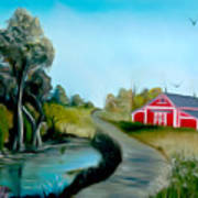 Pond By The Red Barn Dreamy Mirage Art Print