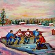 Pond Hockey Warm Day Art Print