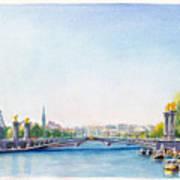 Pont Alexandre IIi Or Alexander The Third Bridge Over The River Seine In Paris France Art Print