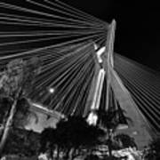 Ponte Octavio Frias De Oliveira At Night - Sao Paulo, Brazil Art Print