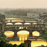 Ponte Vecchio Enlighten By The Warm Sunlight, Florence. Art Print