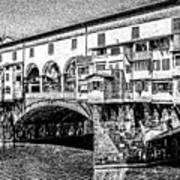 Ponte Vecchio Florence Sketch Art Print