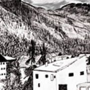 Pontresina Black And White Art Print