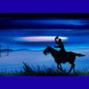 Pony Express Rider Blue Art Print