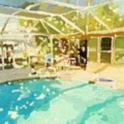 Pool And Screened Pool House Art Print
