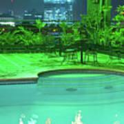 Pool With City Lights Art Print