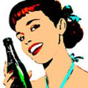 Pop Art Girl With Soda Bottle Art Print