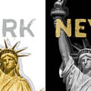 Pop Art Statue Of Liberty - New York New York - Panoramic Golden Silver Art Print