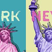 Pop Art Statue Of Liberty - New York New York - Panoramic Art Print