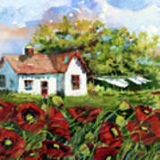 Poppies And Laundry Art Print