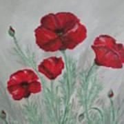 Poppies In The Mist Art Print