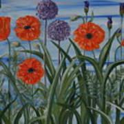 Poppies, Iris, Giant Alium Art Print