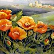 Poppies On A French Hillside Art Print