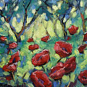 Poppies Through The Forest Art Print