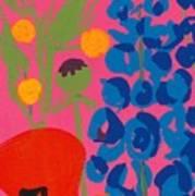 Poppy And Delphinium Art Print