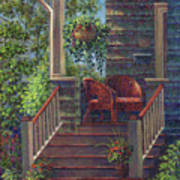 Porch With Red Wicker Chairs Art Print