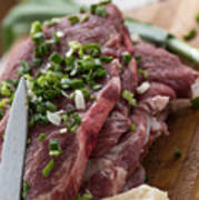 Pork meat with green garlik seasoned Art Print