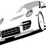 Porsche 911 Gt2 White Art Print