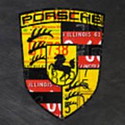 Porsche Sports Car Logo Recycled Vintage License Plate Car Tag Art Art Print