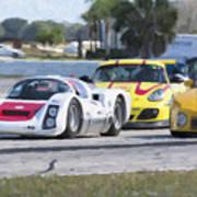 Porsches In The Corner At Sebring Raceway Art Print