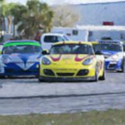 Porsches Rounding The Corner At Sebring Art Print