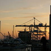 Port Of Oakland Sunset Art Print