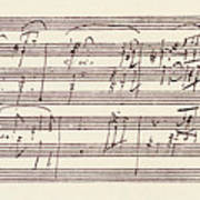 Portion Of The Manuscript Of Beethoven's Sonata In A, Opus 101 Art Print