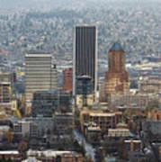 Portland City Downtown Cityscape Panorama Art Print