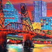 Portland City Lights Over The Hawthorne Bridge Art Print