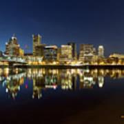 Portland City Skyline Reflection On Willamette River Art Print
