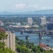 Portland Cityscape With Mount Saint Helens View Art Print