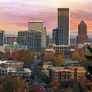 Portland Downtown Cityscape During Sunrise In Fall Art Print