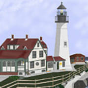 Portland Head Maine On Cape Elizabeth Art Print