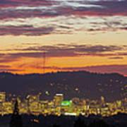Portland Oregon City Skyline Sunset Panorama Art Print
