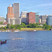 Portland Oregon Skyline And Rowing Boats. Art Print