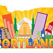 Portland Oregon Skyline In State Map Art Print