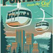 Portland Poster - Tram Retro Travel Art Print
