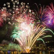 Portland Waterfront 4th Of July Fireworks Art Print