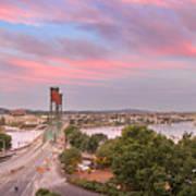 Portland Waterfront Hawthorne Bridge At Sunset Art Print