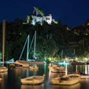 Portofino Bay By Night Iv - Castello Brown Castle Art Print