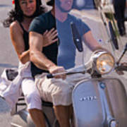 Portofino Scooter Couple Print by Neil Buchan-Grant