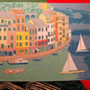 Portofino with birds Art Print