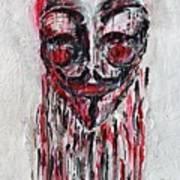 Portrait Melting Of Anonymous Mask Chan Wikileak Occupy Guy Fawkes Sopa Mpaa Pirate Lulz Reddit Art Print