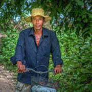 Portrait Of A Khmer Rice Farmer - Cambodia Art Print