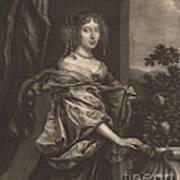 Portrait Of A Lady Beside A Rose Bush Art Print