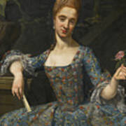 Portrait Of A Lady In An Elaborately Embroidered Blue Dress Art Print