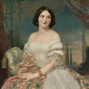 Portrait Of A Lady Sitting Under A Pergola Art Print