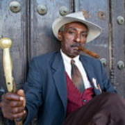 Portrait Of A Man Wearing A 1930s-style Suit And Smoking A Cigar In Havana Art Print