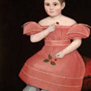 Portrait Of A Rosy Cheeked Young Girl In A Pink Dress Art Print